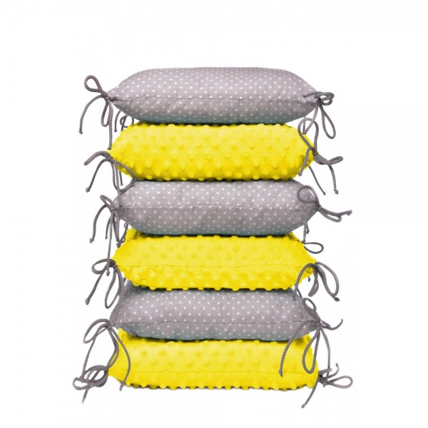 T-tomi Bettumrandung Kissen, yellow/little-grey dots